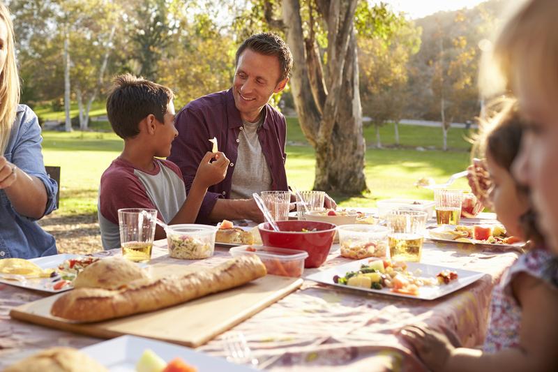 Photo of a family having a picnic
