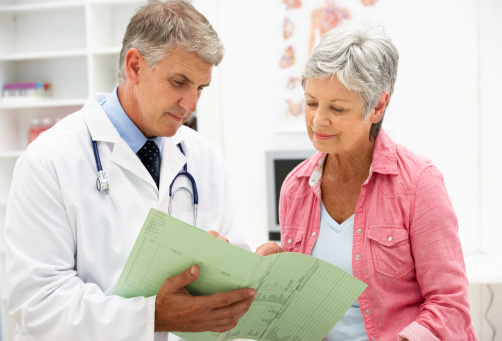 Photo of a patient and doctor talking