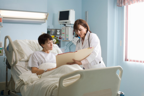 Photo of a doctor and patient in the hospital