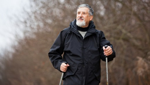 Photo of an older man on a walk