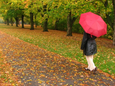 Photo of a woman with an umbrella taking a walk