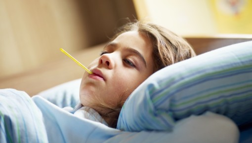Photo of a child with a fever
