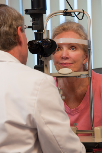 Photo of a woman having her eyes examined