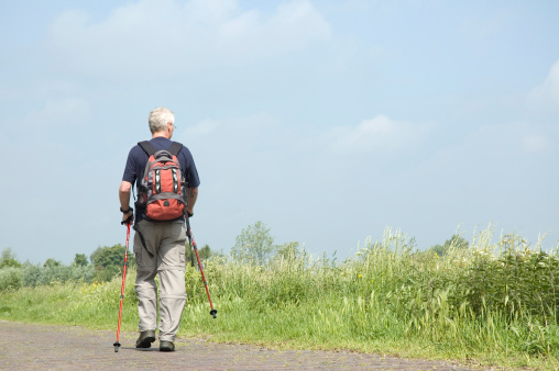 Photo of a man doing Nordic Walking
