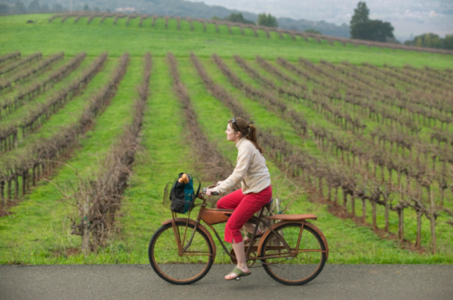 Photo of a woman on a bicycle