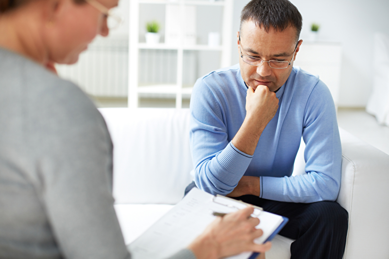 Photo of a patient at a psychotherapy session