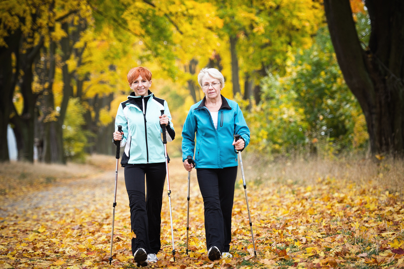 Photo of two women doing Nordic walking