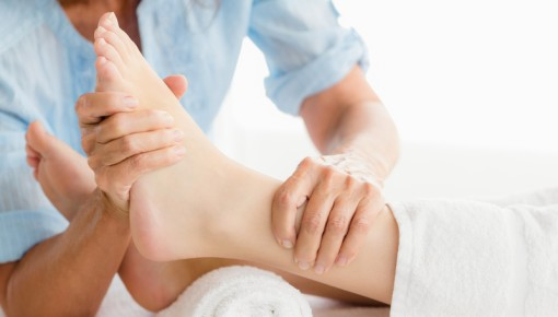 Photo of physiotherapy performed on a foot