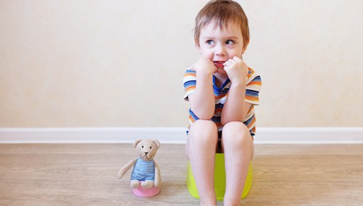 Photo of little boy sitting on the potty