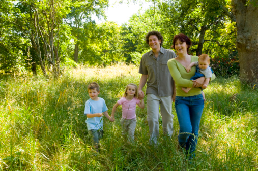 Photo of a family in the forest