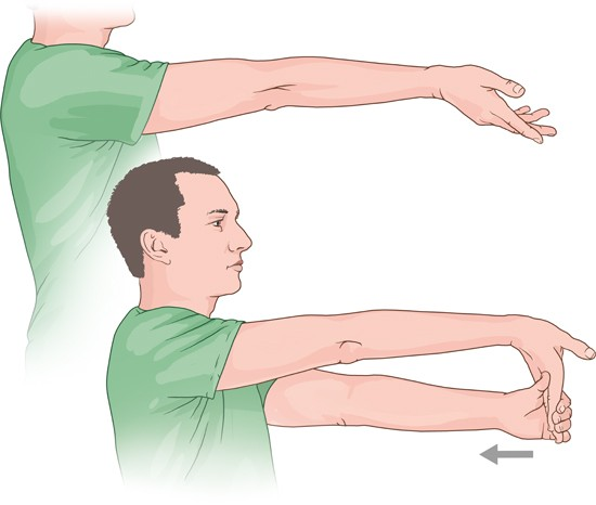 Illustration: Stretching exercise for golfer's elbow – as described in the article